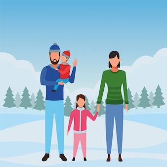 Familie avatar stripfiguur