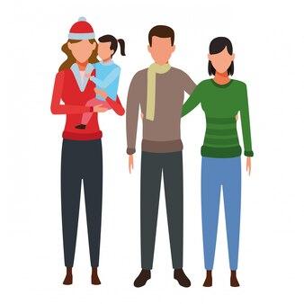 Familie avatars stripfiguur