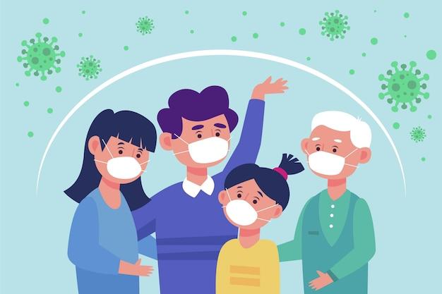 Familie beschermd tegen de virusillustratie