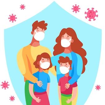 Familie beschermd tegen het geïllustreerde virus