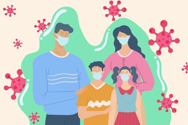 Familie beschermd tegen het virus
