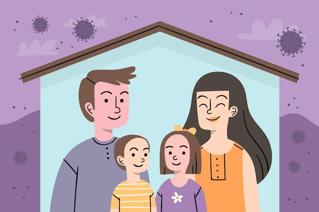 Familie beschermd tegen het virusconcept