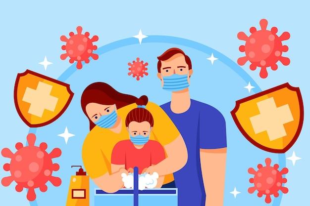 Familie beschermd tegen virussen