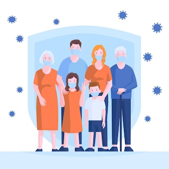 Familie beschermd tegen virusthema