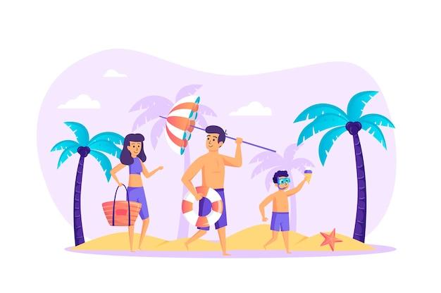 Familie bij strand plat ontwerpconcept met de scène van mensenkarakters