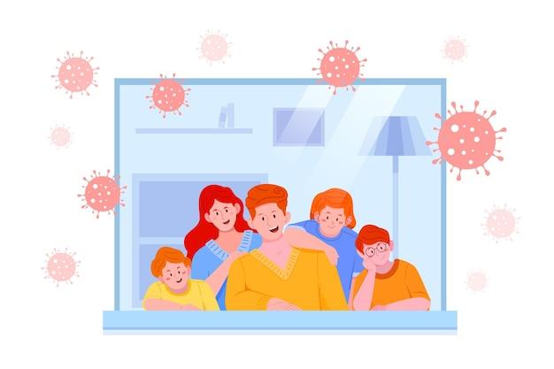 Familie binnenshuis en coronavius bacteriën buiten