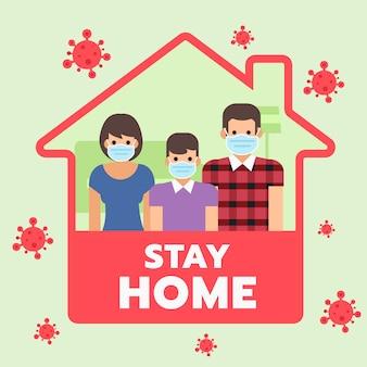 Familie blijft thuis en draagt een masker, campagne voor sociale media en cover-19.