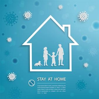 Familie blijft thuis tijdens uitbraak van covid-19 coronavirus