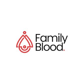 Familie bloeddruppel doneren donatie ouder kind kinderen moeder vader zoon dochter logo vector pictogram illustratie