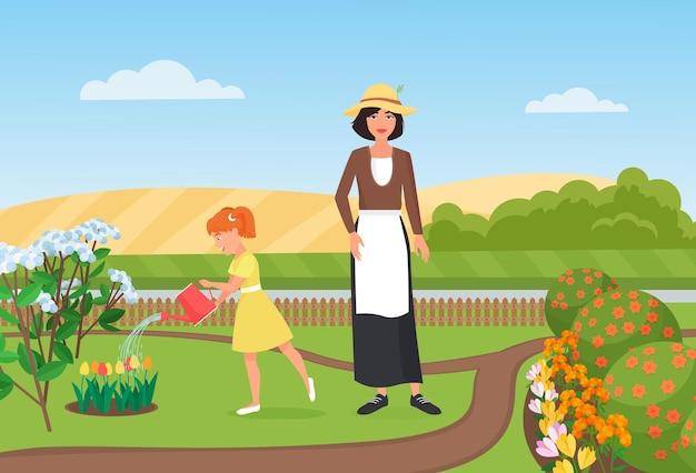 Familie boeren mensen werken water bloemen in boerderij tuin meisje moeder tuinmannen aan het werk
