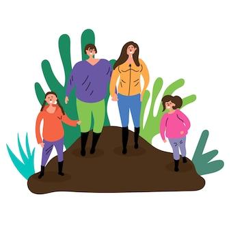 Familie boswandeling moeder vader dochter ecotoerisme zomerrust inspireer reizen