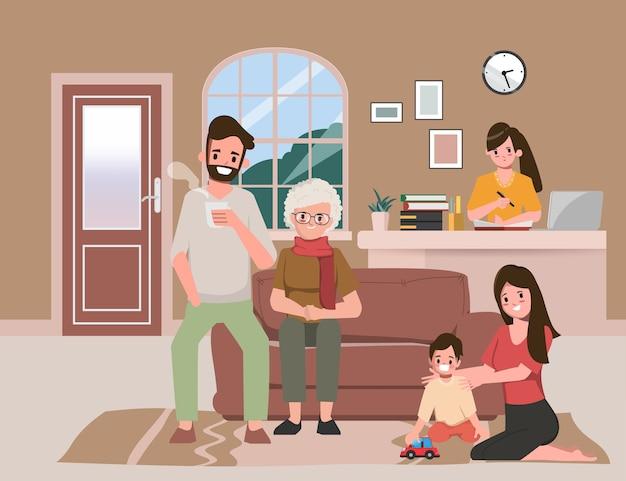Familie brengt tijd door met ouders terwijl ze thuis zijn. blijf thuis en werk samen thuis.