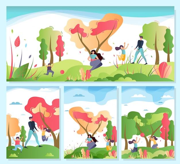 Familie buitenshuis activiteiten op natuur cartoon set