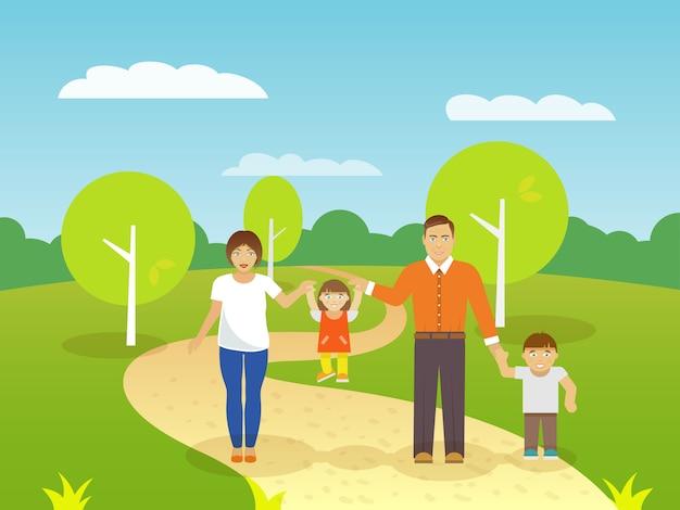 Familie buitenshuis illustratie