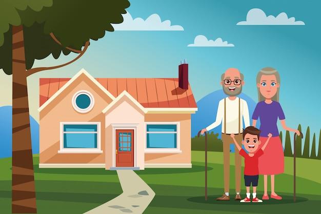 Familie buitenshuis van huis cartoon