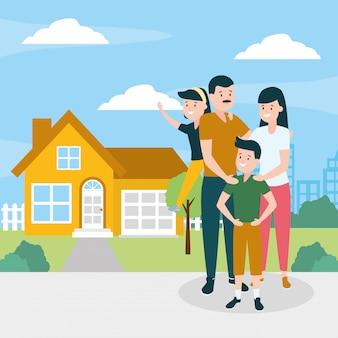 Familie buitenshuis