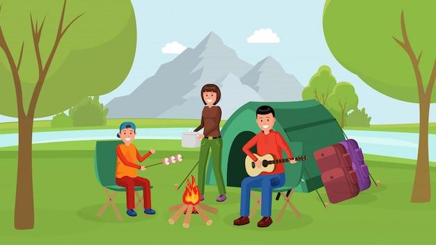 Familie camping picknick platte poster