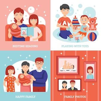 Familie concept icons set