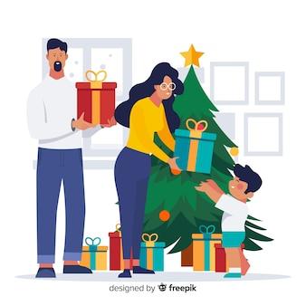 Familie delen presenteert kerstmis achtergrond