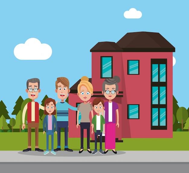 Familie dichtbij woonhuis