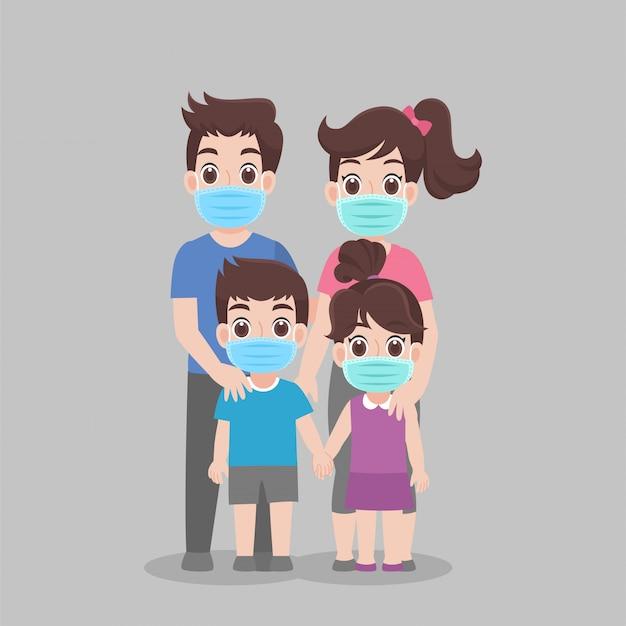 Familie die beschermend medisch masker draagt om virus te voorkomen