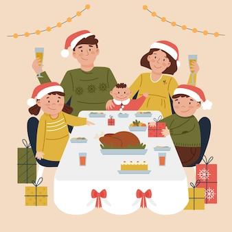 Familie die dinerscène heeft