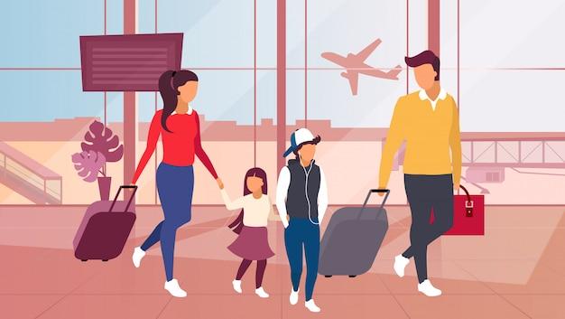 Familie die door vliegtuigillustratie reist.