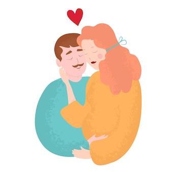 Familie die eerste babyillustratie verwacht