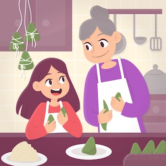 Familie die en geïllustreerde zongzi voorbereidt eet