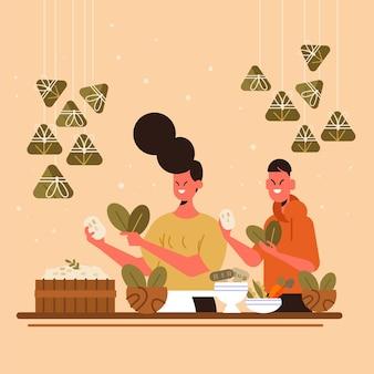 Familie die en zongzi in vlak ontwerp voorbereidt eet