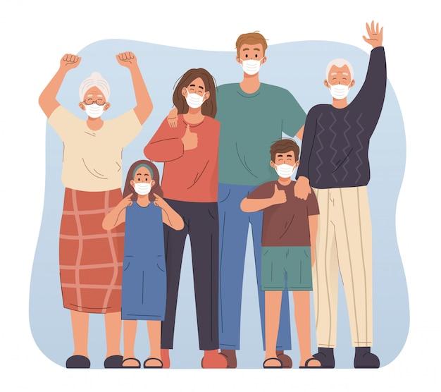 Familie die gezichtsmasker draagt. preventieve maatregelen tegen coronavirus