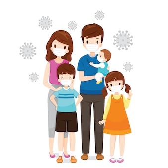 Familie die gezichtsmaskers draagt ter voorkoming van coronavirusziekte, covid-19-virus en vervuilingen, gezondheidsbescherming