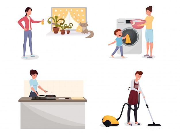 Familie die huishoudelijk werk vlakke reeks doet.