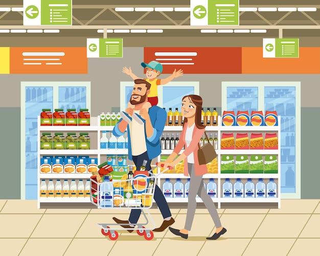 Familie die in de vector van het supermarktbeeldverhaal winkelen