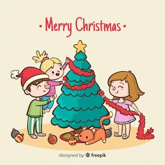 Familie die kerstmisachtergrond van kerstmis verfraait