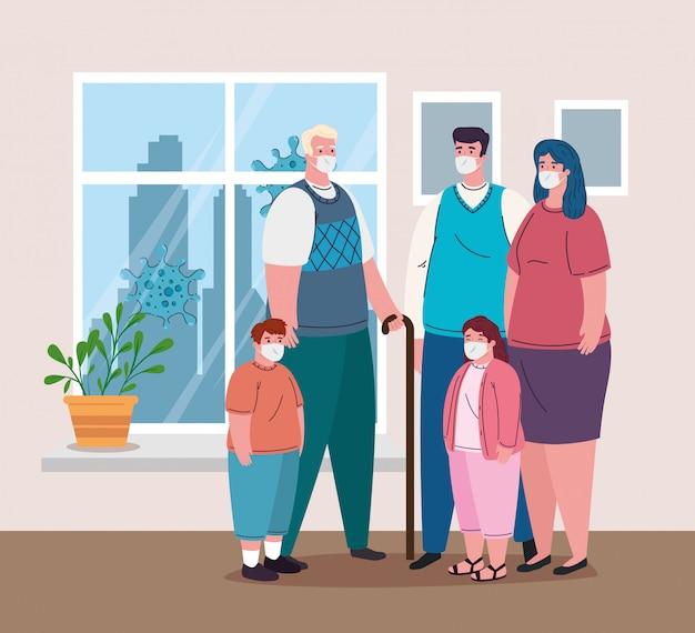 Familie die medisch masker draagt om coronavirus te voorkomen, in huis