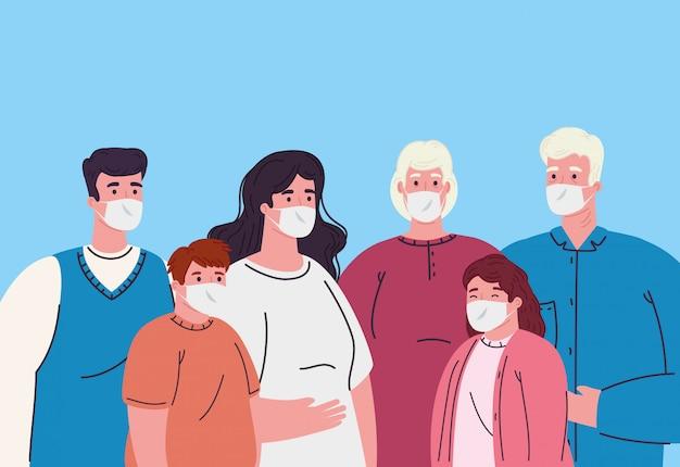 Familie die medisch masker draagt om coronavirus te voorkomen
