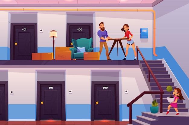 Familie die naar het nieuwe vectorconcept van het huisbeeldverhaal beweegt