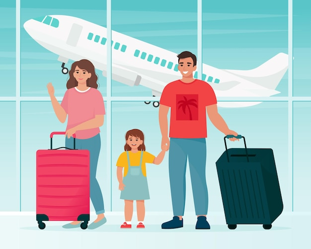 Familie die op de luchthaven met koffers reist. tijd om concept te reizen. vectorillustratie in vlakke stijl