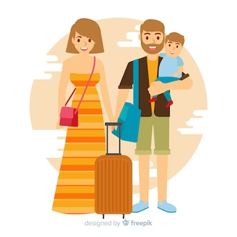 Familie die op een reisachtergrond gaan
