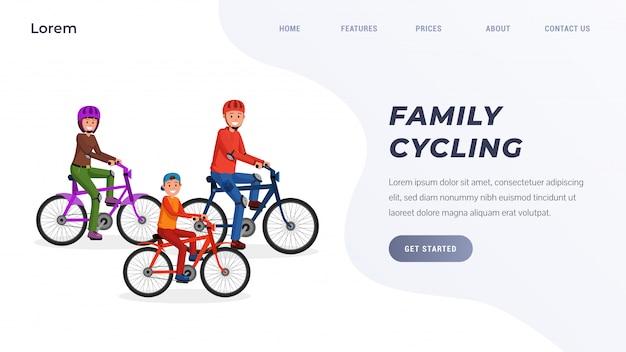 Familie die op fiets in park landende pagina berijdt