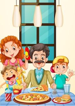 Familie die pizza voor diner heeft