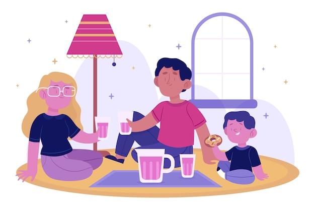 Familie die samen van geïllustreerde tijd genieten