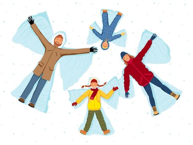 Familie die sneeuwengelen maakt. ouders en kinderen geïsoleerde vectorillustratie.