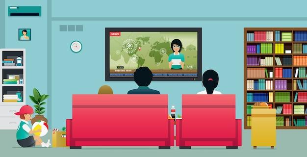 Familie die thuis tv kijkt, stopt de verspreiding van het coronavirus