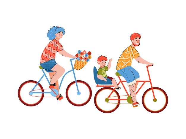 Familie die van een fietstocht geniet