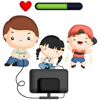 Familie die videospelletjes speelt