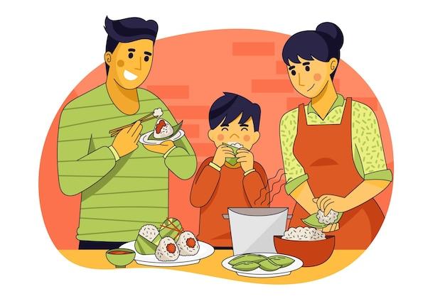 Familie die zongzi-illustratie eet