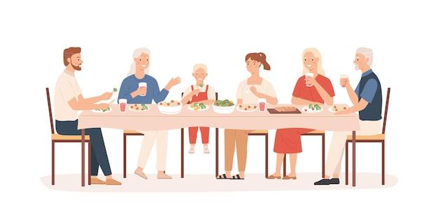 Familie diner. grootouders, ouders en kinderen zitten aan vakantietafel, gelukkige mensen die heerlijk eten, vectorconcept illustratie moeder en vader met grote familie dineren