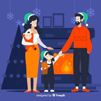 Familie door de kerstmisillustratie van de open haard